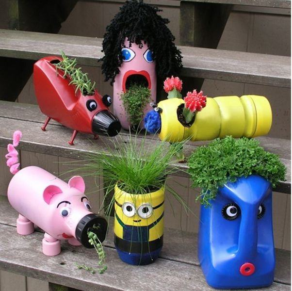 Ideas para reciclar botellas de pl stico reutiliza tus for Reciclaje jardin y decoracion